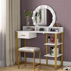 tribesigns gold vanity table with lighted mirror and