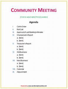 Community Meeting Agenda Community Meeting Agenda Template Microsoft Word Templates