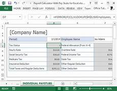 Tax Off Paycheck Calculator Payroll Calculator With Pay Stubs For Excel