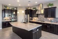Dark Kitchen Cabinets With Light Floors Love This Kitchen With Dark Cabinets Amp Light Granite
