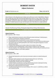 Online Instructor Resume Adjunct Instructor Resume Samples Qwikresume