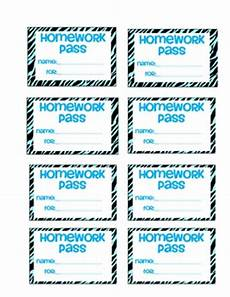 Homework Pass Template Word Colorful Zebra Homework Passes By Saddle Up For 2nd Grade