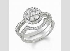 Lab Created White Sapphire Cluster Frame Bridal Set in