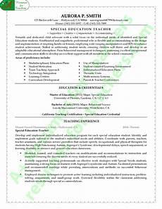 Resume Sample Education Special Education Teacher Resume Example