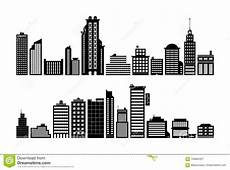 Building Templates Set Of Modern City Buildings Black Silhouette Style