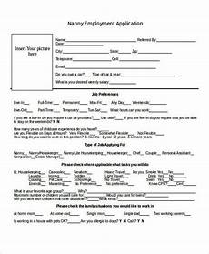 Babysitting Application Form Nanny Application Templates 6 Free Word Pdf Document