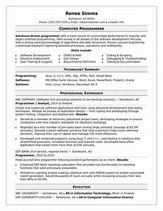 Computer Programming Student Resume Sample Resume For A Midlevel Computer Programmer Monster Com