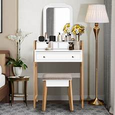costway makeup vanity table dressing table cushioned stool