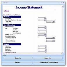 Income Statement Example Excel Download Excel Income Statement Template Software 7 0
