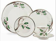 Lenox Holiday Nouveau Platinum White Christmas China for 8
