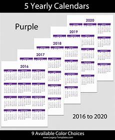 Yearly Calendar 2015 2020 2020 2016 To 2020 Yearly Calendar A5 Legacy Templates