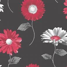 Flower Wallpaper Metallic by Muriva Floral Metallic Gerbera Flower Wallpaper