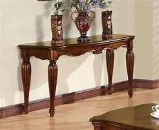 delphina traditional carved wooden top sofa table in