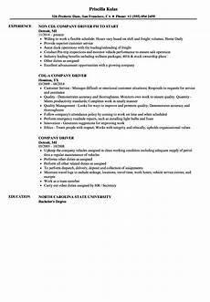 Sample Company Resume Company Driver Resume Samples Velvet Jobs