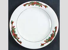2 Fine China of China Poinsettia Ribbons Dinner Plates