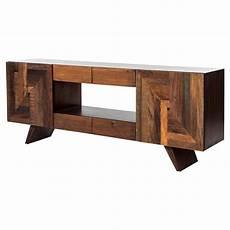 irving rustic lodge mixed wood geometric modern media cabinet