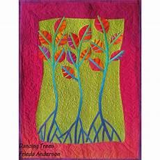 arbres dansants en fusing patchwork contemporain en