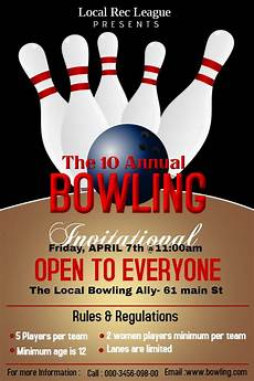 Bowling Flyer Bowling Tournament Poster Flyer Design Template Sports