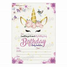 Birthday Invitations Girls Unicorn Girl Birthday Invitations Girls Party Invites