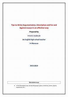Essay Cover Page Tips To Write Effectively Descriptive And Argumentative Essay