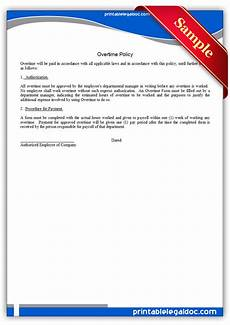 Sample No Free Printable Overtime Policy Form Generic