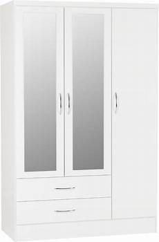 nevada 3 door 2 drawer mirrored wardrobe white gloss