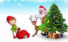 Christmas Pictures To Download Christmas Postcard Santa Claus Deer Christmas Tree With