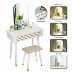 dressing table vanity table set led light mirror wooden