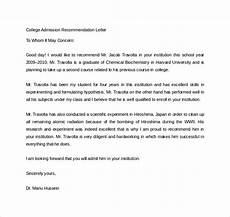 Letter Of Recommendation College Admission Sample College Recommendation Letter 14 Free Documents