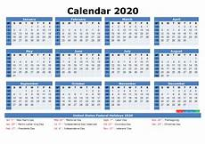 2020 Printable Monthly Calendar With Holidays Free Printable 2020 Monthly Calendar With Holidays By