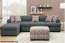 poundex montreal iii f7971 f7973 grey fabric sectional