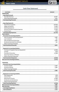 Statement Of Cash Flows Template Cash Flow Statement Template Free Accounting Template