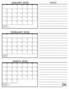 2020 Three Month Calendar 3 Month Calendar 2020