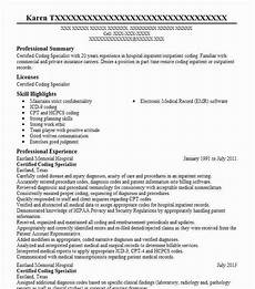 Coding Resume Certified Coding Specialist Resume Sample Livecareer