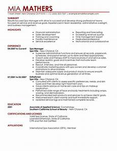 Spa Resume Sample Best Salon Spa Or Fitness Manager Resume Example Livecareer