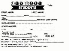 Student Information Card Template Information Cards For Youth Groups Google Search Youth