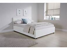 white 4ft 120cm small side lift pu leather ottoman bed