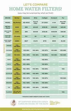 Water Filter Comparison Chart The Best Home Water Filter What S Actually In Your Tap