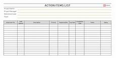 Action Item Template Word Free Action Items Template For Excel Amp Pdf To Do List