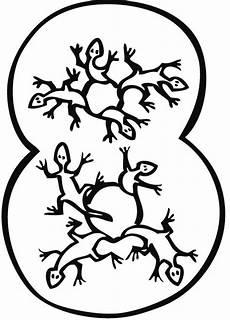 Malvorlagen Zahlen Zum Ausdrucken Kostenlose Malvorlage Zahlen Acht Geckos Zum Ausmalen