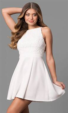 white graduation dress with lace promgirl