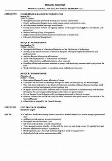 banquet coordinator resume samples velvet jobs