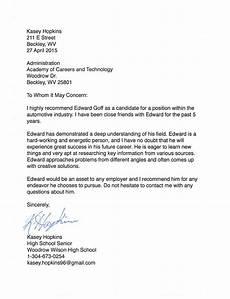 Peer Recommendation Letter Sample Peer Reference Letter Edward Goff S Portfolio