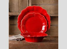 The Pioneer Woman Paige 12 Piece Dinnerware Set, Red