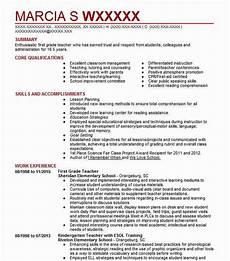 1st Resume First Grade Teacher Resume Sample Teacher Resumes