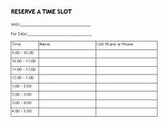 Hourly Sign Up Sheet Template Reserve Time 1 Hour Blocks Sign In Sheet