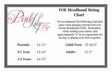 Foe Headband Chart Elastic Headband Size Chart Make Your Own Baby Headband