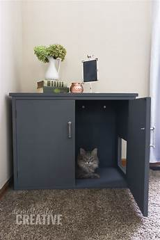 diy litter box cabinet domestically creative