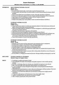 Project Analyst Resume Sample It Project Senior Analyst Resume Samples Velvet Jobs