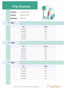 Detailed Itinerary Template Trip Itinerary Template Pdf Templates Jotform
